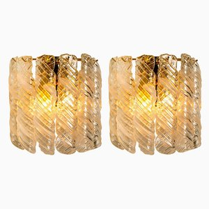 Weiße gewundene Murano Glas Torciglione Wandlampen, 1960, 2er Set
