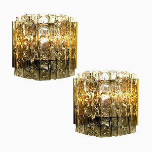 Mid-Century Wall Lamps in Brass and Glass, 1970s, Set of 2