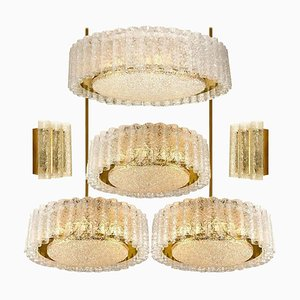 Glass & Brass Light Fixtures from Doria, Germany, 1960s, Set of 6