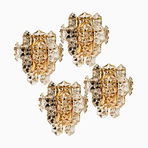 Große Wandleuchte aus vergoldetem Messing und facettiertem Kristall von Kinkeldey