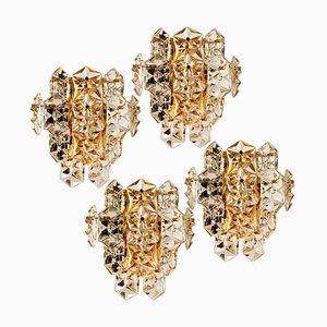 Large Gilt Brass & Faceted Crystal Sconce from Kinkeldey