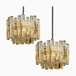 Large Modern 3-Tier Chrome & Ice Glass Chandeliers by J.T. Kalmar, Set of 2
