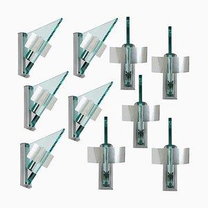 Dreieckige Wandleuchte aus Glas und Aluminium von Artemide, 1984
