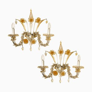 Rich Venetian Wall Sconces, Venice, Murano, 1960, Set of 2