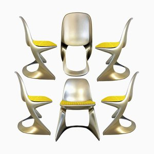 Space Metallic Age Chairs by Ostergaard, 1970, Set of 6
