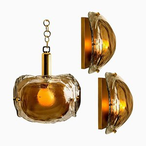 Brass and Brown Blown Murano Glass Light Fixtures, Set of 3