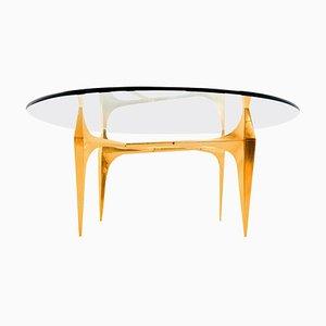 Table Basse ou Table d'Appoint Sculpturale en Laiton par Knut Hesterberg, 1960