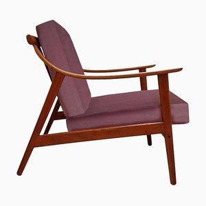 Dänischer Sessel aus Lelievre-Samt, 1960er Jahre
