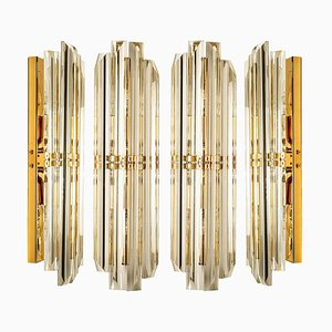 Wandleuchte aus Murano Glas und vergoldetem Messing im Stil von Venini, 1960er