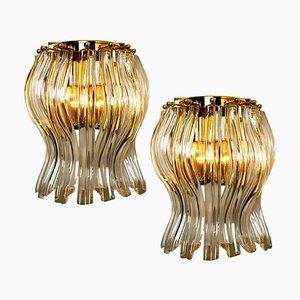 Wandleuchten aus Muranoglas und vergoldetem Messing im Stil von Venini, Italien, 2er-Set