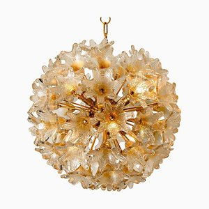 Large Brass Gold Murano Glass Sputnik Chandelier by Paolo Venini for Veart