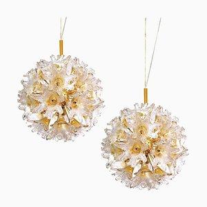 Messing & Gold Murano Glas Sputnik Leuchten von Paolo Venini für Veart, 2er Set