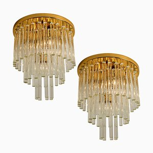 Chandelier Flush Mount in Brass and Crystal by Palme, 1960s