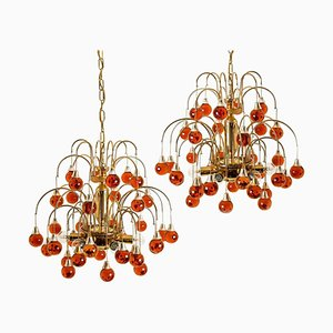 Brass & Orange and Red 4-Tier Murano Chandeliers, 1970s, Set of 2