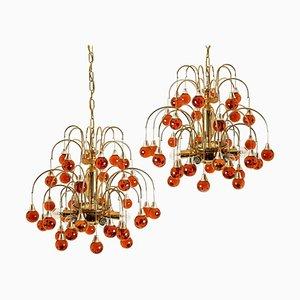Messing & Orange und Rot 4-Tier Murano Kronleuchter, 1970er Jahre, 2er-Set