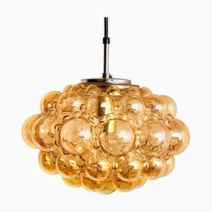 Amber Bubble Glass Pendant Lamp by Helena Tynell, 1960
