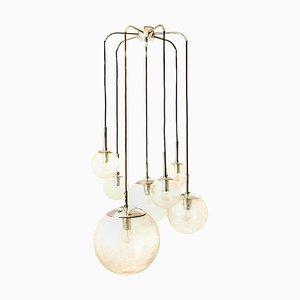 Kaskade mit sieben mundgeblasenen Globen aus der Glashütte Limburg