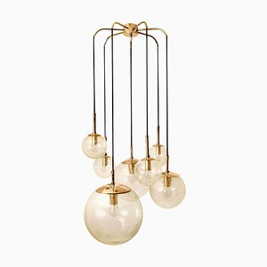 Brass Cascade with Seven Hand Blown Globes from Glashütte Limburg