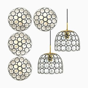 Circle Eisen- und Blasenglasleuchten Leuchten von Glashütte, 1960, 6er-Set