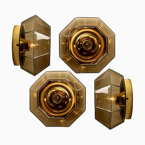 Geometric Smoked Glass and Brass Flush Mount Wall Light from Limburg