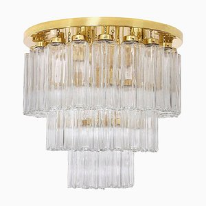 Brass and Glass Flush Mount Chandelier from Limburg Glashütte, 1970