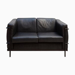 Harvink Black Leather 2-Seat Sofa, 1980s