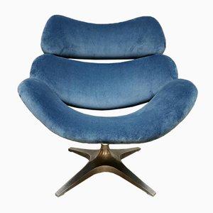 Chaise Pivotante Hollandaise de Rohe Noordwolde en Velours Bleu