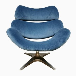 Dutch Swivel Chair from Rohe Noordwolde in Blue Velvet
