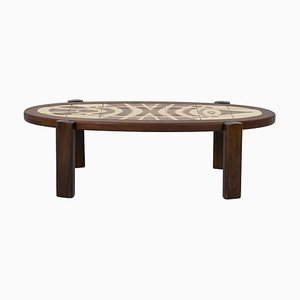 Coffee Table in Teak and Ceramic by Gustave Raynaud, 1960s