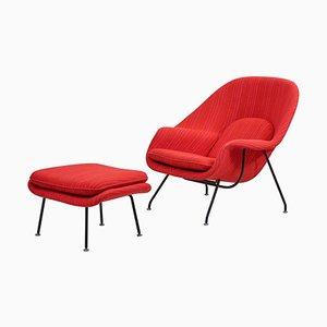 Knoll Dynamic Fabric Womb Chair mit Ottoman von Eero Saarinen für Knoll, 2er-Set