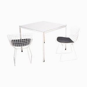 Dining Table & Side Chairs Set by Florence Knoll & Bertoia