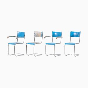 Blue Cantilever Chairs B43 by Mart Stam for Thonet, Germany, 1930s, Set of 4