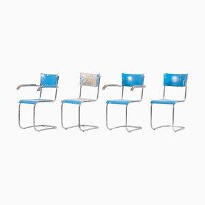 Blue Cantilever Chairs B43 von Mart Stam für Thonet, Deutschland, 1930er Jahre, 4er-Set