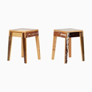 Lacquered Oak Stools by Piet Hein Eek, Set of 2