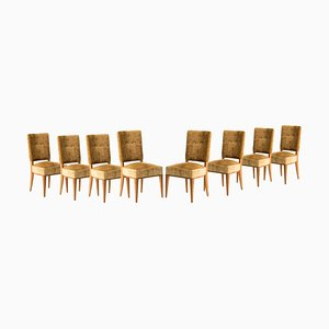 French Art Deco Mustard Velvet Dining Chairs, Set of 8