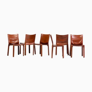 Cab Chairs in Cognac Saddle Leather by Mario Bellini for Cassina, Set of 6
