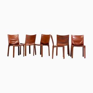 Taxistühle aus Cognac-Sattelleder von Mario Bellini für Cassina, 6er-Set