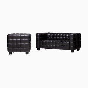 Black Leather Kubus Sofa & Club Chair Set by Josef Hoffman for Wittmann