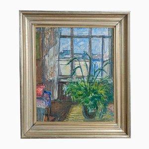 Pintura al óleo del interior y la vista de la ventana, 1938