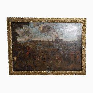 Pittura raffigurante un olio della scena della battaglia, Svezia, XVIII secolo