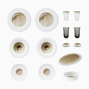 Silent Brass Set aus Keksporzellan mit handgegossener Glasur von Hering Berlin