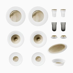 Silent Brass Set of Biscuit Porcelain with Hand-Poured Glaze by Hering Berlin