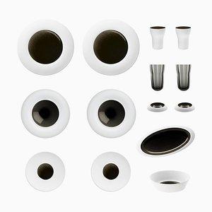 Obsidian-Set aus Biskuitporzellan mit handgeblasener schwarzer Glasur von Hering Berlin
