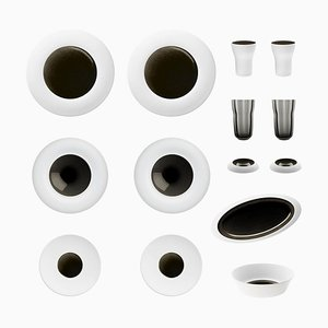Obsidian Set of Biscuit Porcelain with Hand-Poured Black Glaze by Hering Berlin