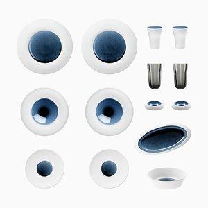 Blue Silent Set of Biscuit Porcelain with Hand-Give Glas von Hering Berlin