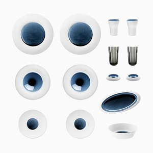 Blue Silent Set of Biscuit Porcelain with Hand-Poured Glaze by Hering Berlin