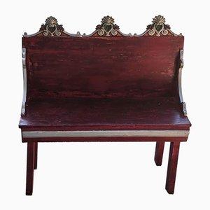 Sitzbank aus gold & rot lackiertem Schichtholz mit 2 Sitzplätzen, Italien, 1980er