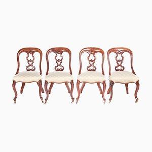 Antike viktorianische Mahagoni Esszimmerstühle, 4er Set