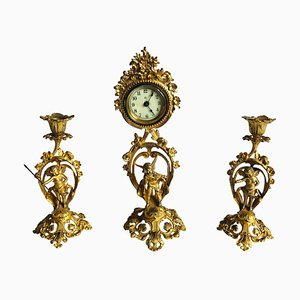 Vergoldetes Fine Victorian Ornate Clocked Set