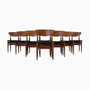 Dänische moderne Esszimmerstühle aus Teakholz und schwarzem Leder von Inge Rubino, 1963, 8er-Set